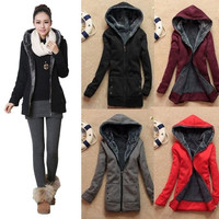 Chic Ladies Winter Warm Parka Cotton Slim Zipper Hoodie Jacket Coat (we added bigger size and more beautiful color to this jacket ) = 1920538308