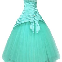 Faironly Aqua Strapless Prom Gown Dress (S)