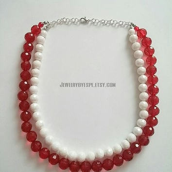 Red and White Necklace-Bib Necklace-Statement Necklace-Beaded Necklace-Strand Necklace-Bridesmaids Necklace-Gifts Ideas