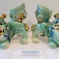 Vintage Green Foo Dog Figurines Asian Temple Dogs Feng Shui Home Office Decor Ceramic Pottery