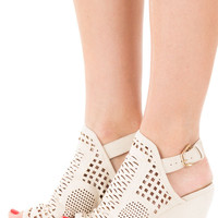 Cream Faux Suede Wedge with Cut Out Detail