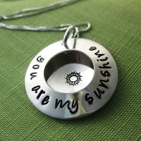 You are My Sunshine Locket Necklace with Sunshine Stamp in Sterling Silver, Personalized & Hand Stamped | akaoriginals - Jewelry on ArtFire