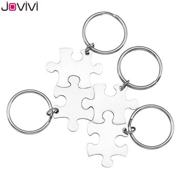 JOVIVI 2018 Newest 4pcs/Set Stainless Steel Puzzle Couples Keychain Key Ring Jewelry-Valentines Day Best Friend Gifts Silver