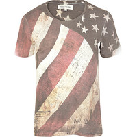 River Island MensEcru distressed American flag print t-shirt