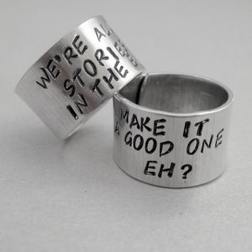 Doctor Who Friendship Rings SET OF TWO - Hand Stamped Aluminum