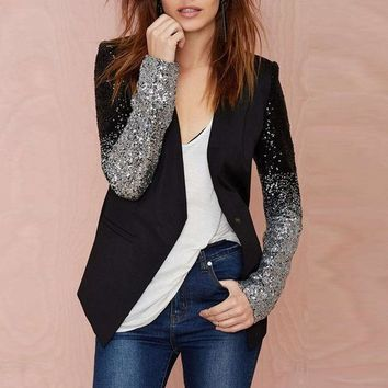 VONE7HQ Black  Spring Sequin Work Blazer