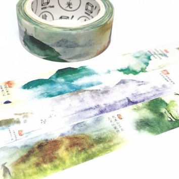 Colorful landscape washi tape 8M peaceful world watercolor world Zen dreamland nature scenery ink painting hills masking sticker tape