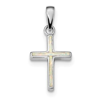 925 Sterling Silver Rhodium Plated White Created Opal Cross Shaped Pendant
