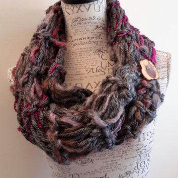 Knit chunky Merlot button cowl. crochet chunky infinity scarf. Made by Bead Gs on ETSY. double stitch