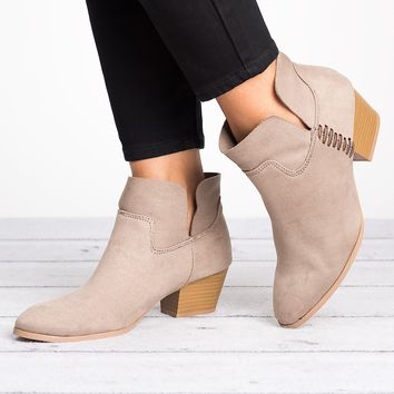Stacked Heel Booties - Taupe