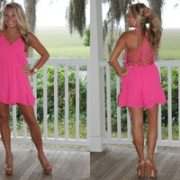 Bangles Boutique — HOT PINK ROMPER WITH CUT-OUT BACK
