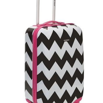 "F191-PINKCHEVRON 20"" Polycarbonate Carry On Luggage Set"