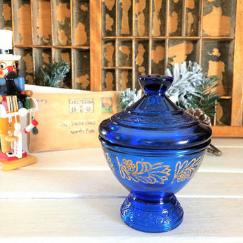 Vintage Blue Glass, Blue Glass Compote, Blue Glass Dish, Glass Candy Compote, Blue and Gold Glass, Holiday Candy Dish, Christmas Candy Bowl