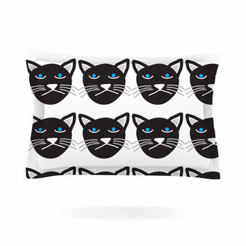 "Vasare Nar ""Grumpy Cat"" Black Animals Pillow Sham"
