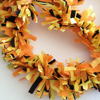 Paper Festooning Crepe Paper Garland Banner Orange and Yellow and Black Handmade Decoration Decorating Fringe Supply