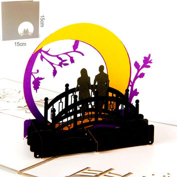 3D Valentines Day Love Greeting Cards Pop Up Paper Kirigami Laser Cut Vintage Gift Cards the Bridges of Madison County