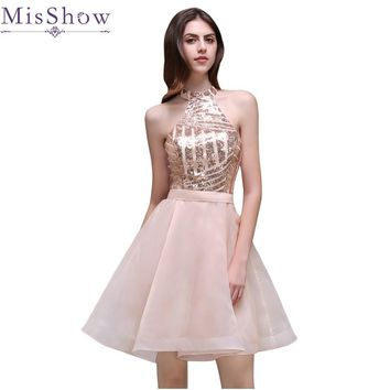 2017 Elegant Cheap Sequins A-Line Mini Cocktail Party Dress Pink Short Halter Organza Sexy Backless Homecoming Ball Gowns Dress