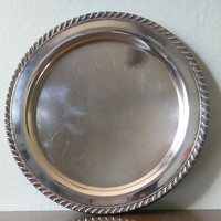 Vintage 1960s Oneida silverplate Fiesta pattern round tray, silver plate platter, silver serving, drink tray, 10""