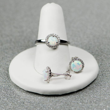 Sterling Silver 7mm Created Opal CZ Halo Ring And Or Matching Stud Earrings