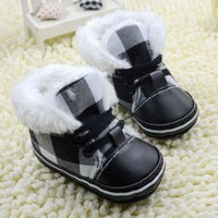 Boys Plaid Winter Boots