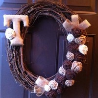 Monogram Grapevine Wreath with Burlap Flowers for Front Door