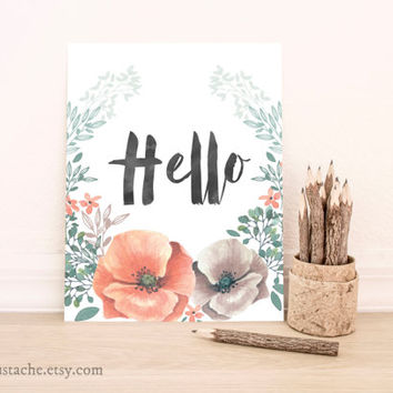 Hello english saying printable wall home decor floral wall print art nursery playroom print art quote typography poster print floral 8x10