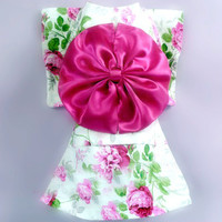 Peony Kimono for Cute Dog's Traditional Styled Clothing-Size 10