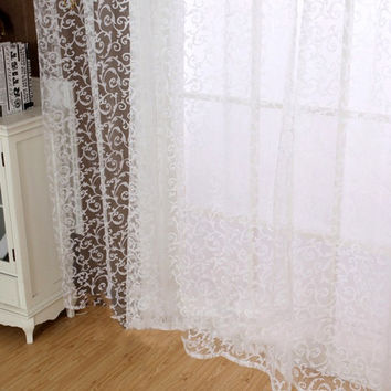 New Chic Room Floral Tulle Curtain Window Door Balcony Lifting Sheer Valance
