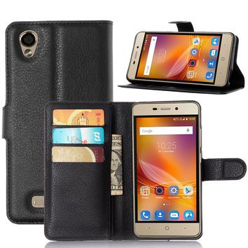 Luxury PU Leather Flip Wallet Protective Case For ZTE X3 / D2 SmartPhones