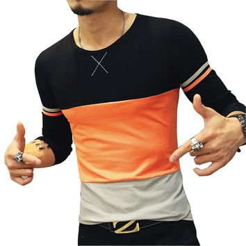 GoBliss Mens Cotton Fitted Long-Sleeve Contrast Color Stitching T-Shirt