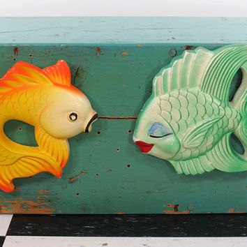 Miller Studio Chalkware Fish . Vintage Colorful Bathroom Decor . 1954 & 1977 . Whimsical Koi and Kissing Wall Fishes