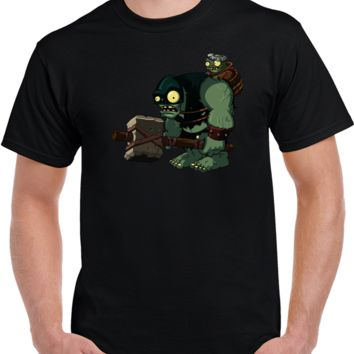 3d Video Games Plant Vs Zombie Giant Zombie With Baby  T Shirt