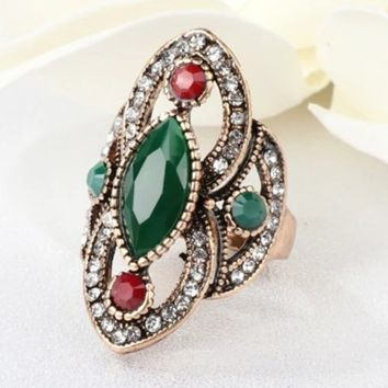 Antique Green and Red Marquise Stone Gold Ring