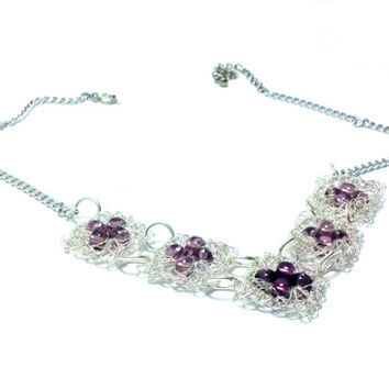 FREE SHIPPING Wire crochet necklace with glass beads: Purple square