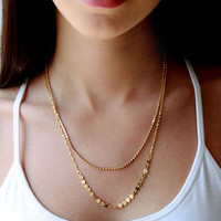 Gold plated necklace,simple design,alloy necklace