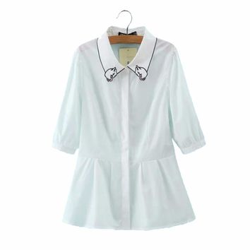 Women cute cartoon collar white shirts scalloped hem slim sweet half sleeve blouse  fashion office wear tops