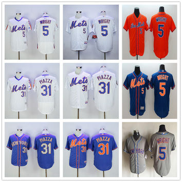 New York Mets 5 David Wright Baseball Jerseys Blue White Gray Embroidery Logos 31 Mike Piazza Jersey Accept Mix Orders