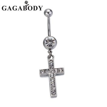2016 High Quality Cross Medical Steel Crystal Belly Button Ring Dangle Navel Body Jewelry Piercings Tassel Free Shipping