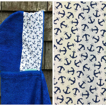 Boys Personalized Hooded Towel Blue Anchor Nautical Pool Bath Beach Towel Kids Children Toddler Birthday Christmas Hanukkah Gift