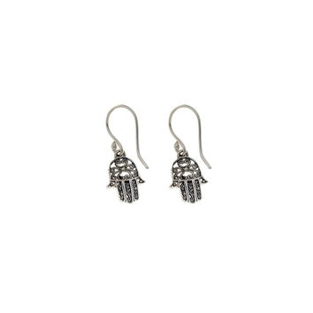 Filigree Hamsa Sterling Silver Drop Earring