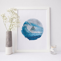 Modern Minimalist Poster, Gift For Her, Circle Art Design, Scandinavian Abstract, Triangle Watercolor, Sea Blue Watercolor, Abstract Art