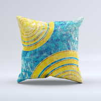 Scratched Blue and Gold Surface Ink-Fuzed Decorative Throw Pillow