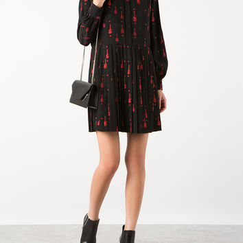 SAINT LAURENT VISCOSE, SILK AND POLYESTER JACQUARD RED AND BLACK GUITAR PRINT DRESS