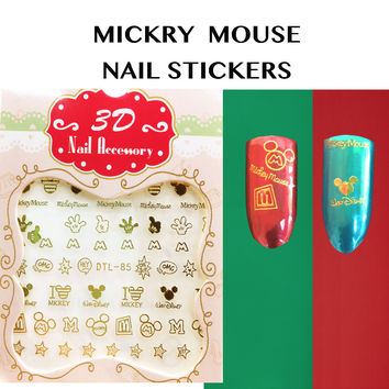 tessie shop Christmas Nail 3D Nail Art Stickers  Nail Decals Mickey Mouse Cartoon Stickers  Gold nail stickers