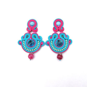 Oriental Turquoise Clip On Earrings - Soutache Clip On Earrings - Turquoise and Fuchsia Earrings with Crystals - Handmade Earrings