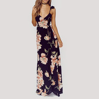 Pary Girl Flowers Printed Maxi