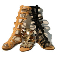 Greek leather sandals, women Tan, Black, Gold sandals, knee high gladiator sandals, authentic handmade sandals, women shoes, stylish sandals