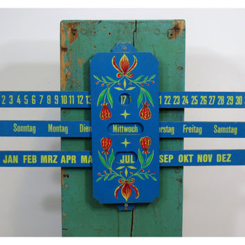 Vintage German Perpetual Calendar . Wooden Folk Art . Tole Painting . Blue Wall Hanging