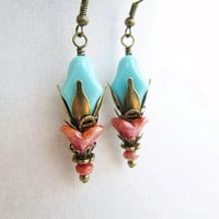 Turquoise Blue & Coral Flower Layered Bronze Petal Boho Chic Victorian Style Earrings