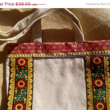 ON SALE Beige Floral  Purse - Red Yellow Braid Embroidered - French Handmade Bag - Cotton Provence Fabric Doubled - Double Handles - Washabl